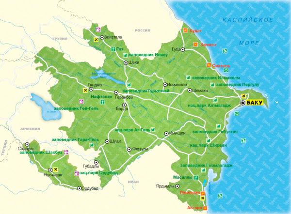Азербайджан, карта
