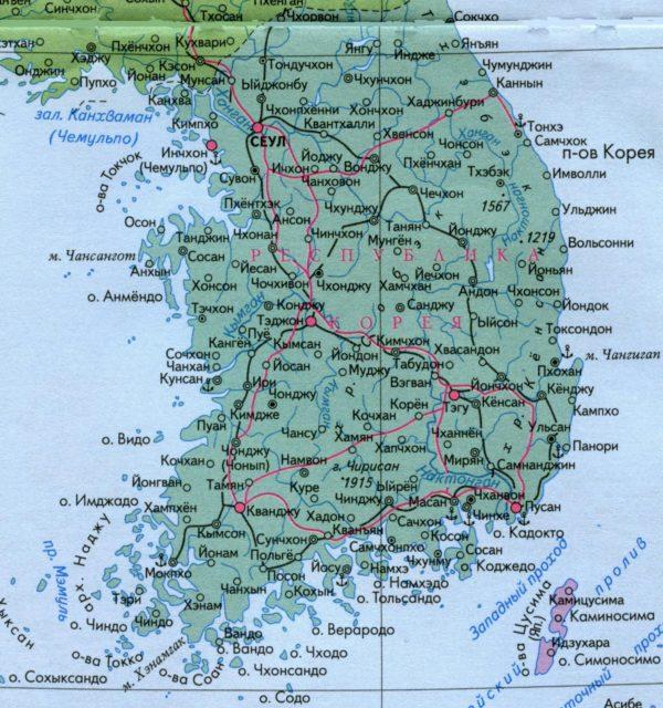 Карта Южной Кореи