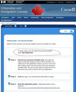 Вам надо пройти на странице CIC т е с т, результатом которого система определит, имеете ли вы возможность обратиться с заявлением на визу, укажет тип такой визы и присвоит вам personal checklist code - сохраните его, он вам понадобится позже