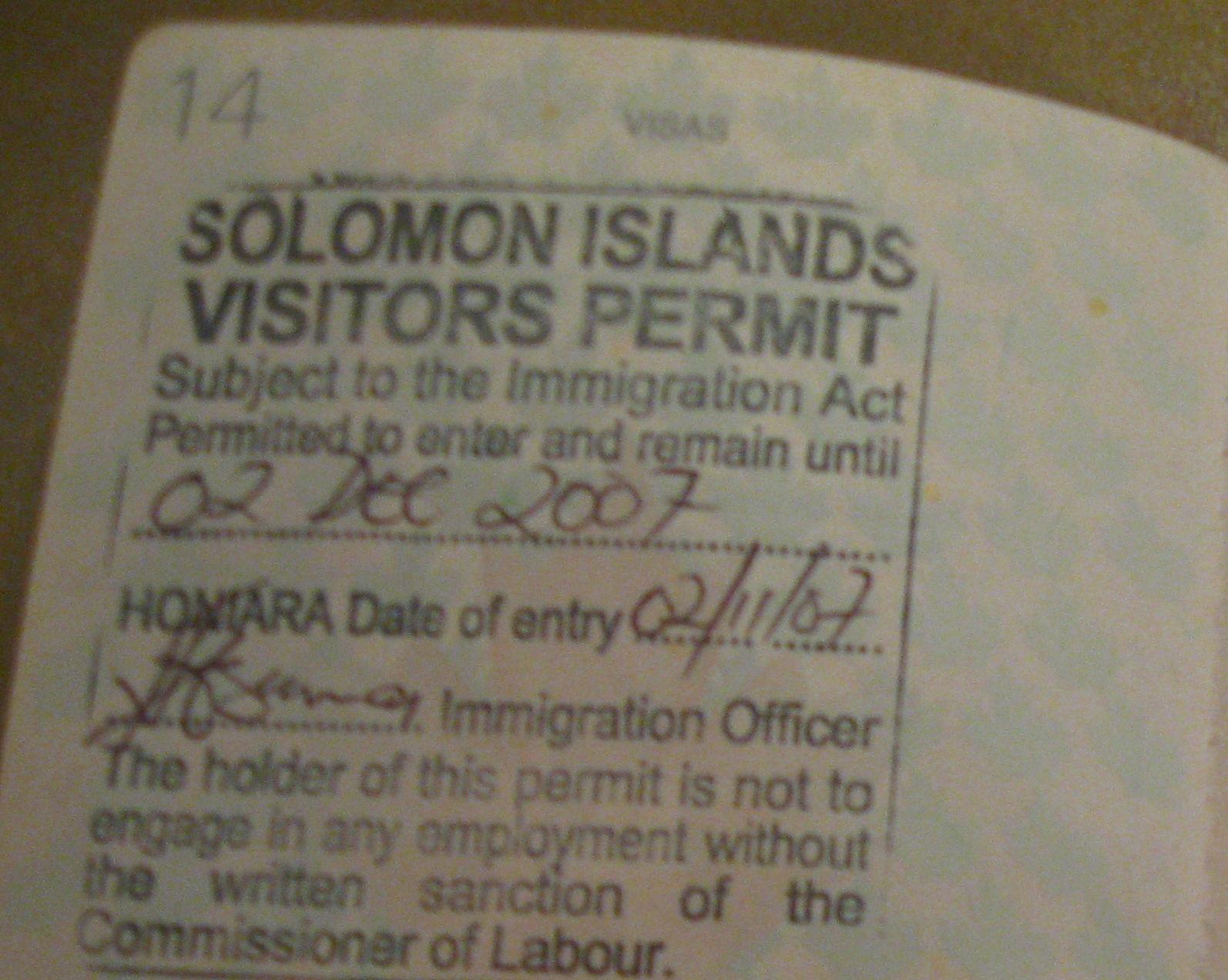 Visitor permit дает туристу право пребывания на островах в течение трех месяцев в течение каждых двенадцати месяцев