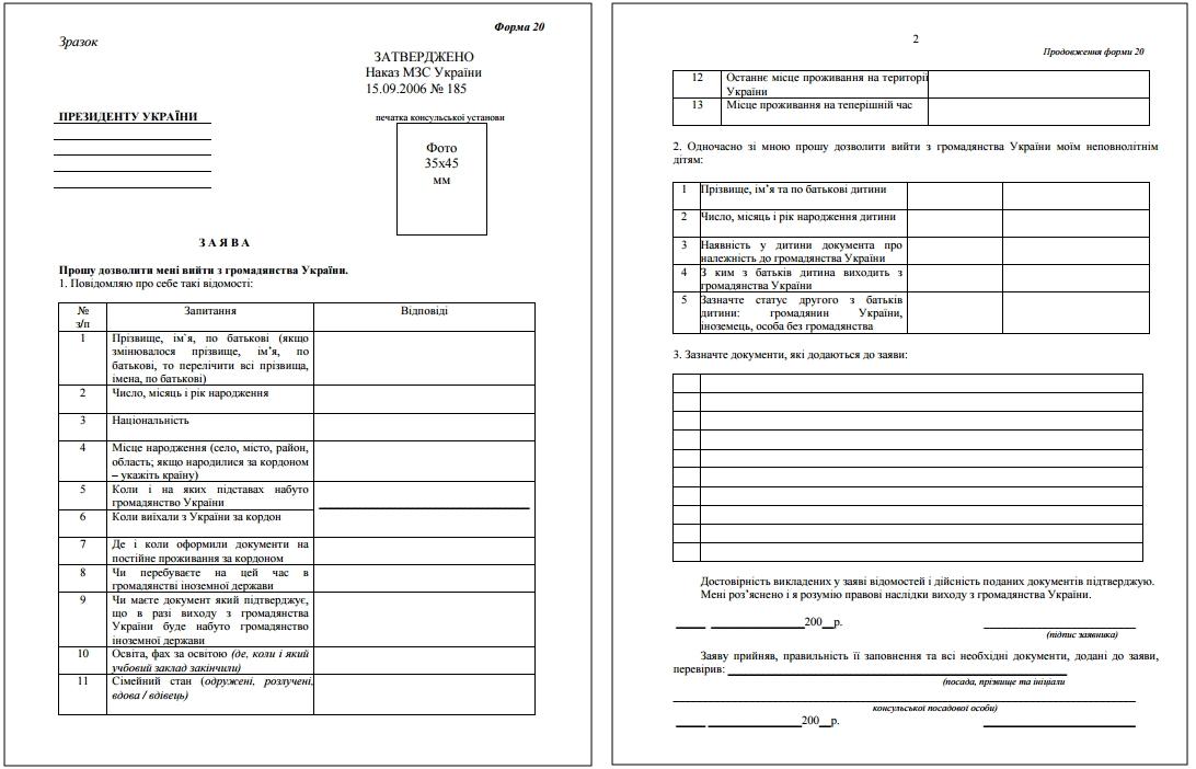 Бланк заявления на отказ от гражданства
