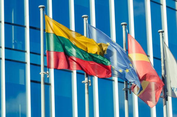 Флаг Литвы и Евросоюза