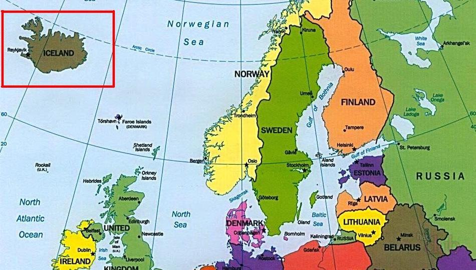 Исландия на карте Европы