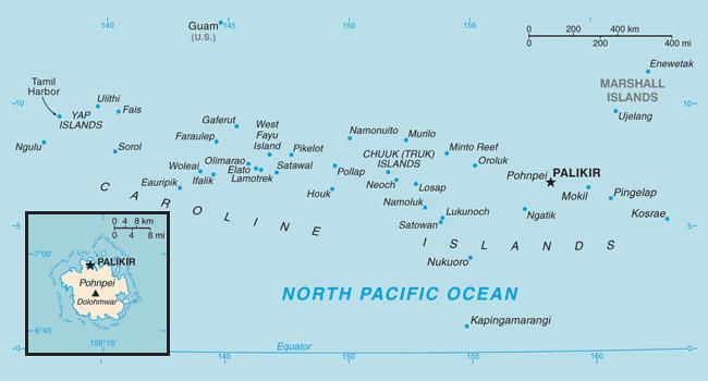 Карта Федеративных Штатов Микронезии