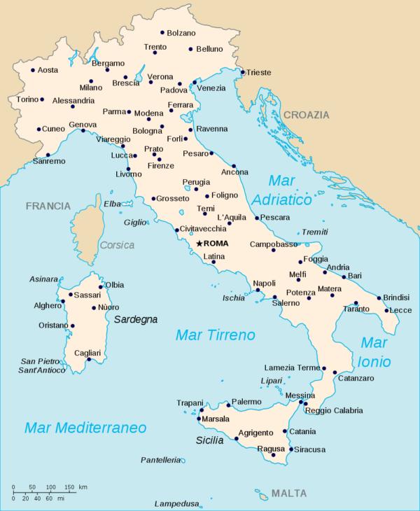 Карта Италии с городами
