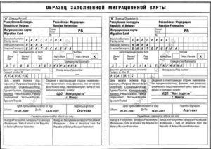 Образец миграционной карты в Россию