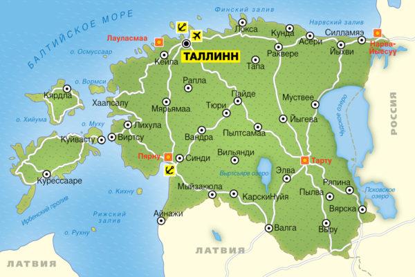 Общая карта Эстонии