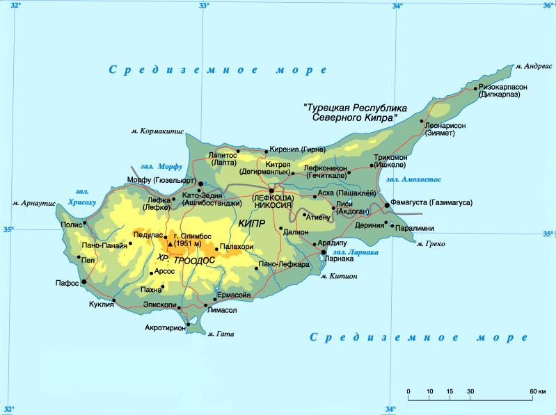 Общая карта Кипра с городами