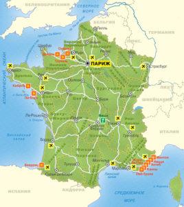 Общая подробная карта Франции