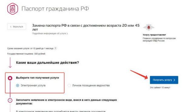 Получение паспорта РФ с помощью сайта Госуслуги