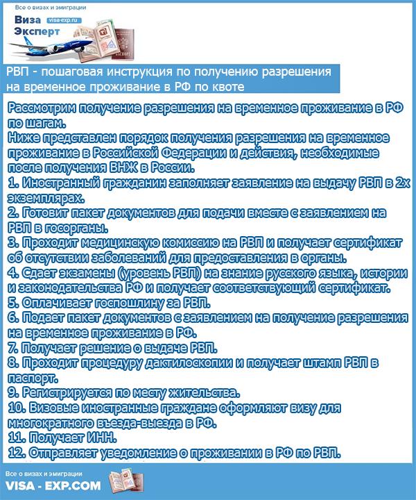 Пошаговая инструкция по получению разрешения на временное проживание в РФ по квоте