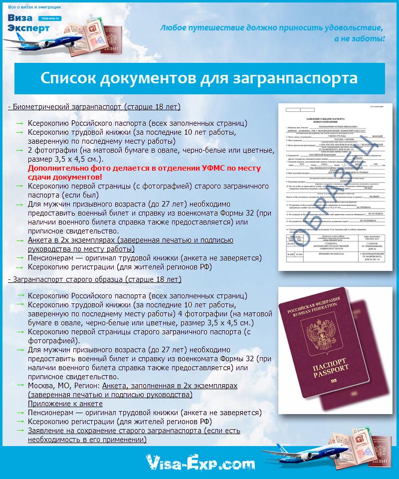 Список документов для загранпаспорта