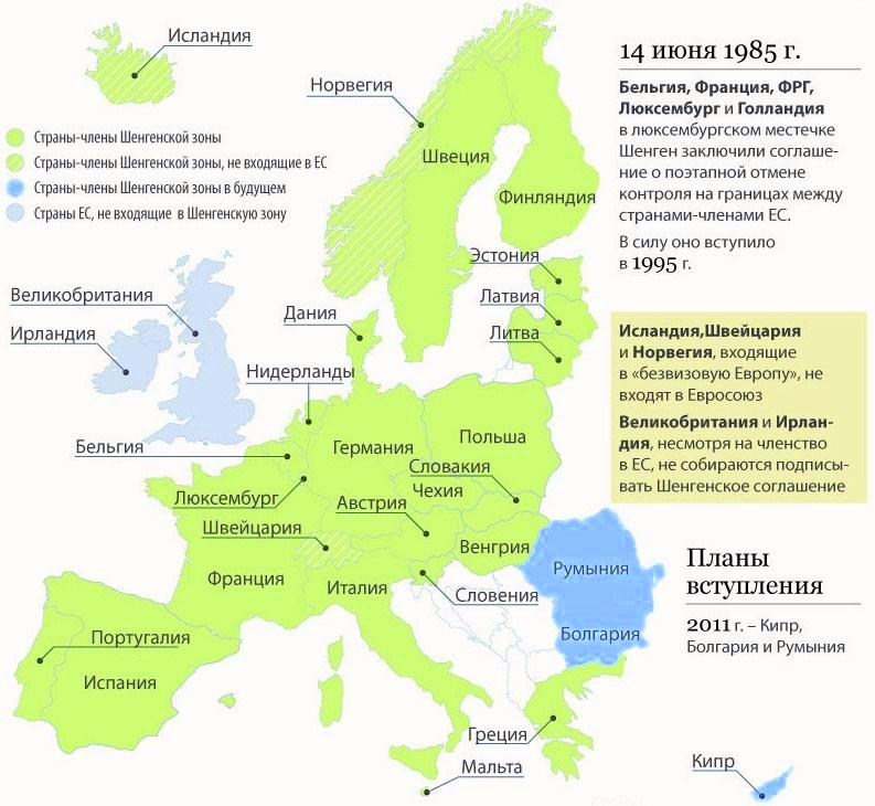 Страны шенгенского соглашения 2016