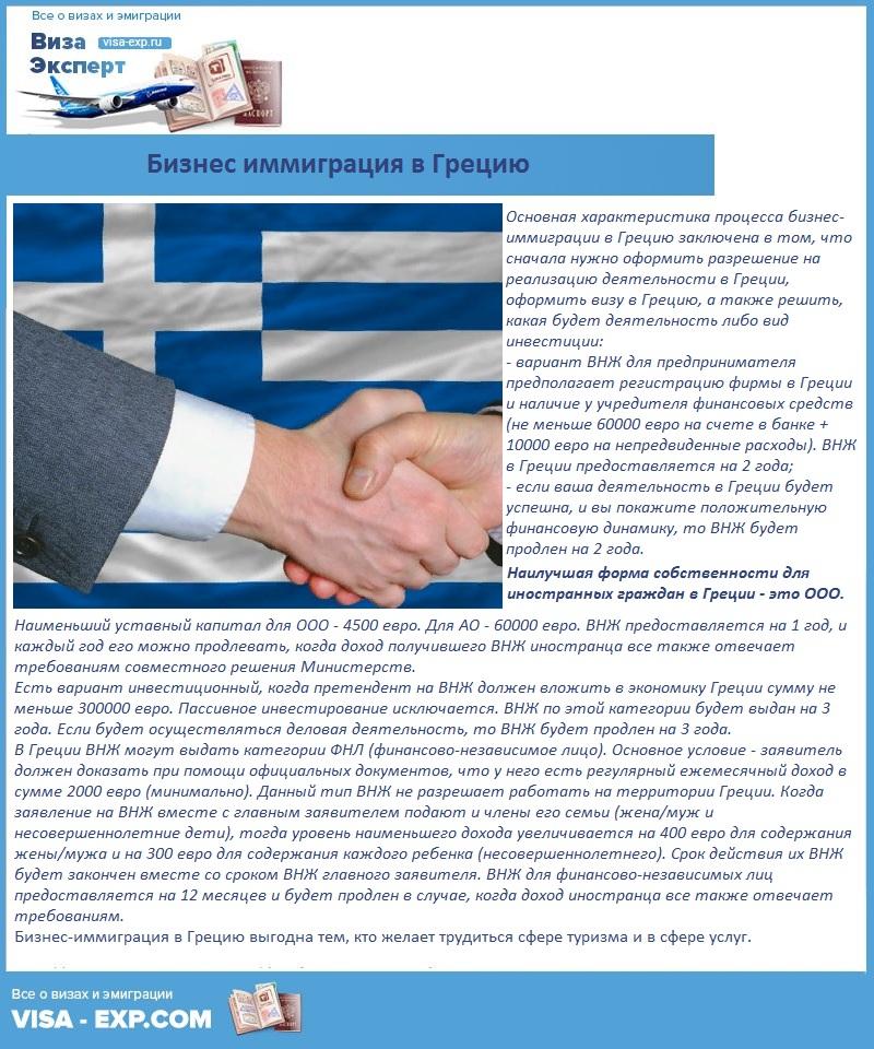 Бизнес иммиграция в Грецию