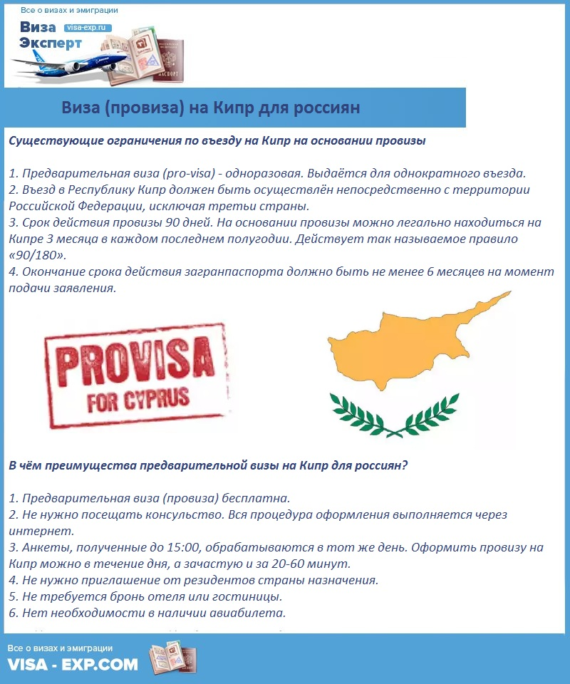 Виза (провиза) на Кипр для россиян