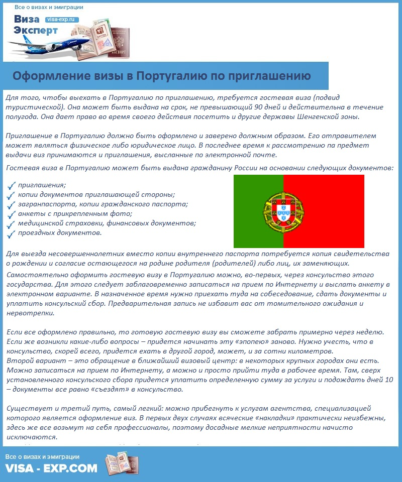 Оформление визы в Португалию по приглашению