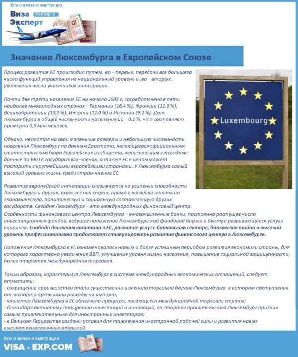 Значение Люксембурга в Европейском Союзе