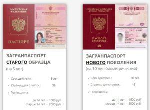 Виды российских загранпаспортов для обычных граждан: - паспорт старого образца — выдаётся на 5 лет; - биометрический паспорт нового образца - выдаётся на 10 лет