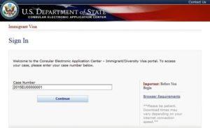 Входим в систему CEAC(Consular Electronic Application Center). Case Number(пример 2018EU00000001) находится на странице Вашего выигрыша