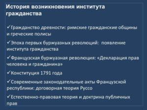 История возникновения института гражданства