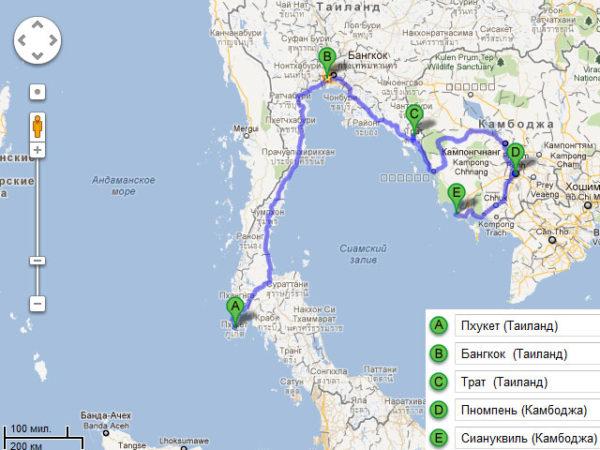 Карта поездки с Пхукета (Таиланд) в Сиануквиль (Камбоджа)