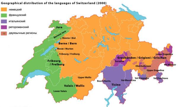 Карта распределения населения по языковому принципу в Швейцарии