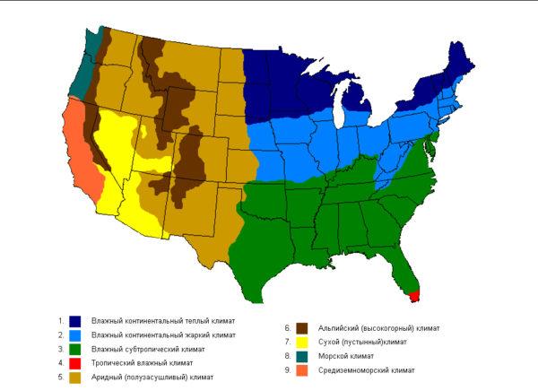 Климатическая карта США