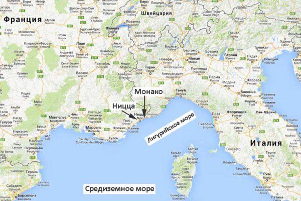 Монако на карте