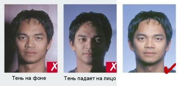 На фото на шенгенскую визу не должно быть теней на фоне или лице