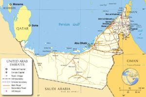 Общая карта ОАЭ с дорогами