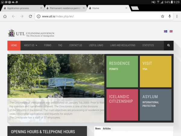 Сайт Департамента иммиграции Исландии