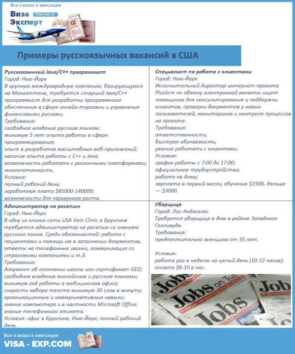 Примеры русскоязычных вакансий в США