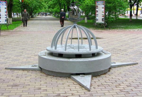 Знак географического центра Европы в городе Полоцке (Белоруссия)
