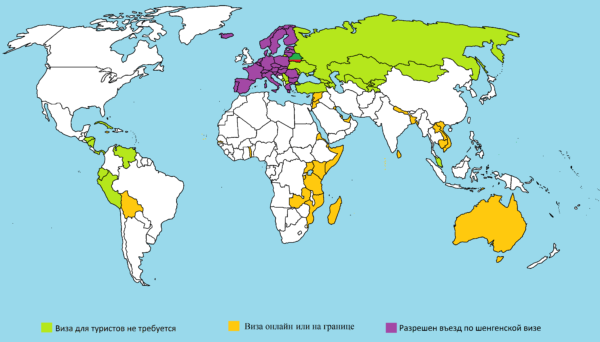 Безвизовые страны для белорусов на карте