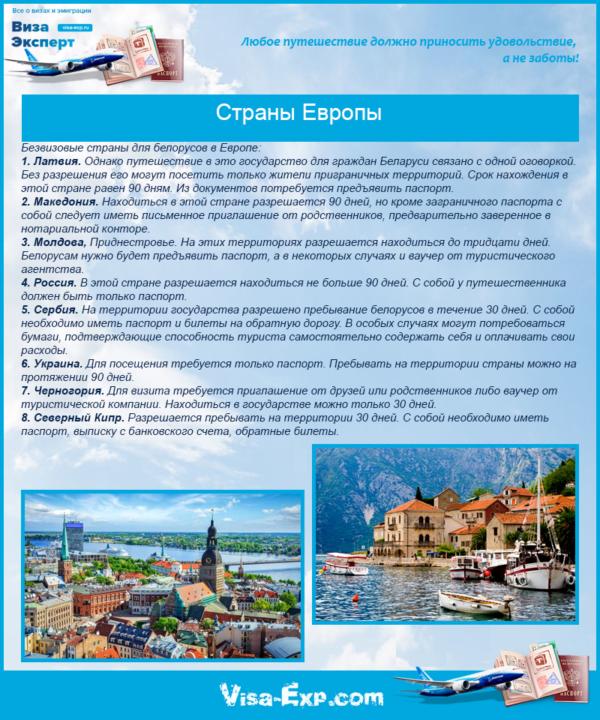 Безвизовые страны для белорусов в Европе