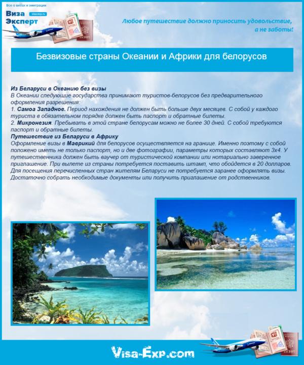 Безвизовые страны Океании и Африки для белорусов
