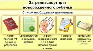 Документы для оформления загранпаспорта для новорожденного