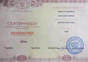 Еще один вариант сертификата международного образца