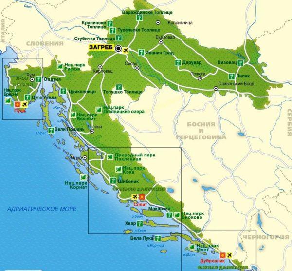 Хорватия на карте