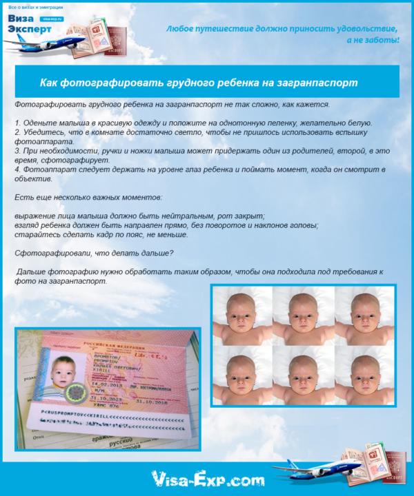 Как фотографировать грудного ребенка на загранпаспорт