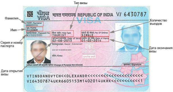 Как расшифровать индийскую визу