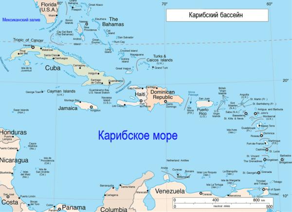 Карибский бассейн на карте