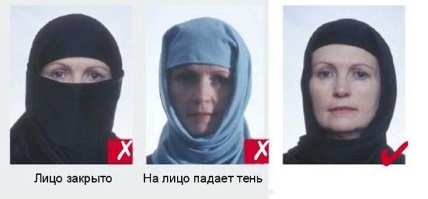 Лицо не должно быть закрыто в любом случае