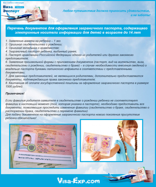Перечень документов для оформления заграничного паспорта, содержащего электронные носители информации для детей в возрасте до 14 лет