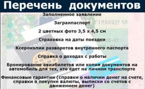 Перечень документов для получения шенгенской визы