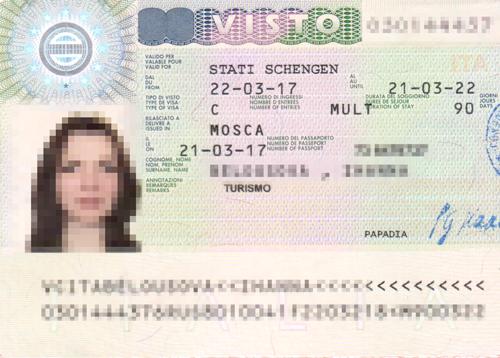 Пример итальянской визы на 5 лет