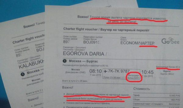 Распечатанный электронный билет на самолет