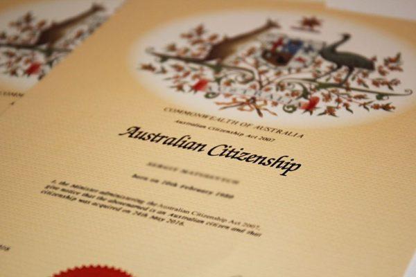 Сертификат Гражданина Австралии