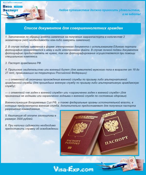 Список документов для совершеннолетних граждан