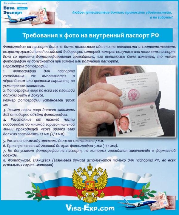 Требования к фото на внутренний паспорт РФ